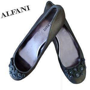 ALFANI Natalie beaded leather slip-ons